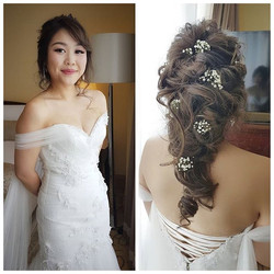 Congrats to pretty bride Desiree today! She requested for a messy loose braid to match her mermaid g