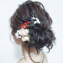 Messy updo with loose hair