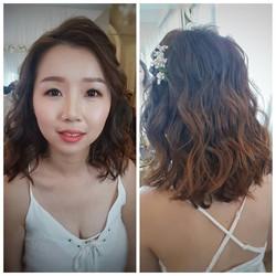 Light makeup with wavy hair