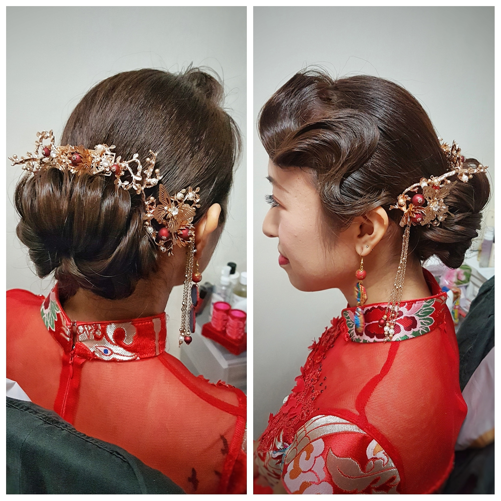 Traditional updo for Chinese Qunkua