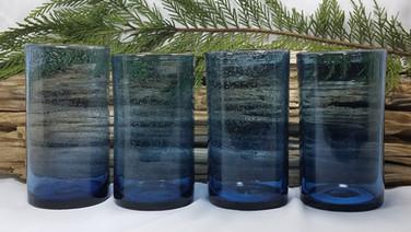 Blue Bubble Glass Highball Glasses