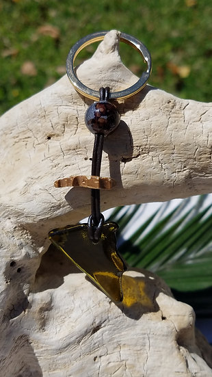 Fired Amber Glass Key Ring 2