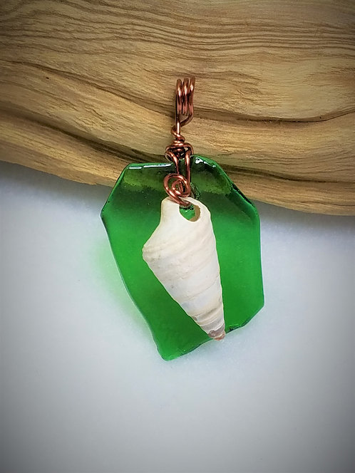 Green Fired Glass & Seashell Pendant 07