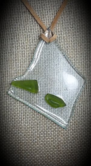 Green & Clear, 3 tone Fused Glass Necklace 01