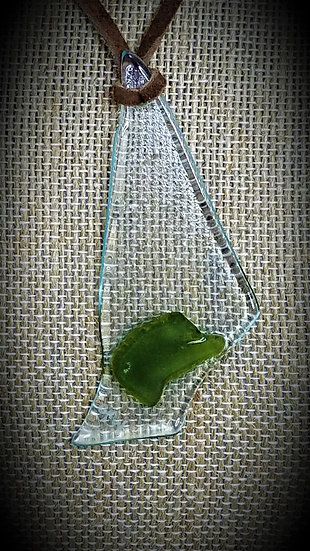 Green & Clear, 2 tone Fused Glass Necklace 08