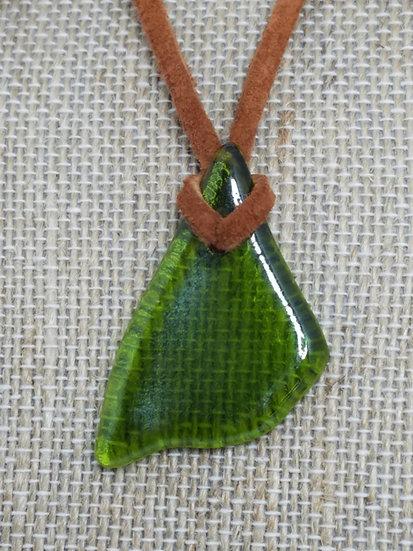 Medium Green Fired Glass Necklace 02