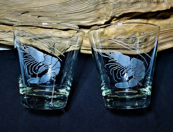 """Attentive Shrimp"" Clear Cocktail Glasses Set of 2"