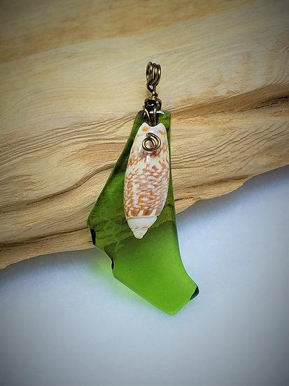 Green Fired Glass & Seashell Pendant 02