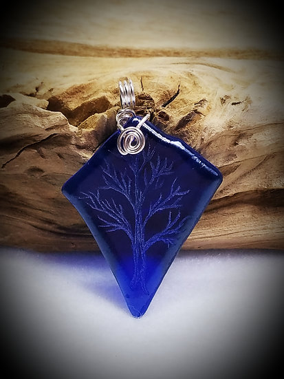 Engraved Winter Tree Blue Fired Glass Pendant 15