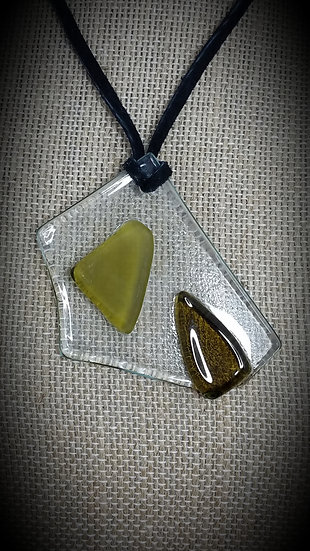 Amber & Clear, 3 tone Fused Glass Necklace 01