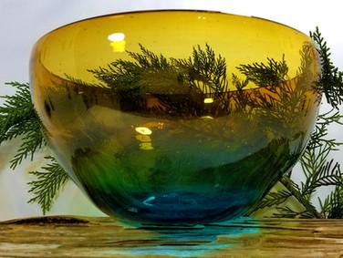 Handblown Sunset Large Serving Bowl