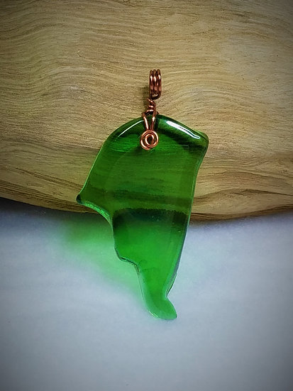 Green Fired Glass Pendant 02