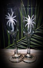 Palm Tree Glass Flutes