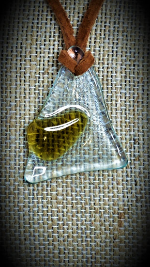 Amber & Clear, 2 tone Fused Glass Necklace 03