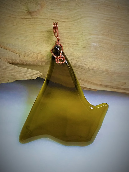 Amber Fired Glass Pendant 04