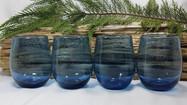 Blue Bubble Glass Stemless Wine Glasses