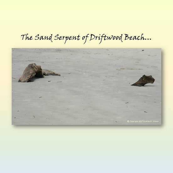 """The Sand Serpent of Driftwood Beach & """"Woody"""" Sand Serpent Double Sided Print"""