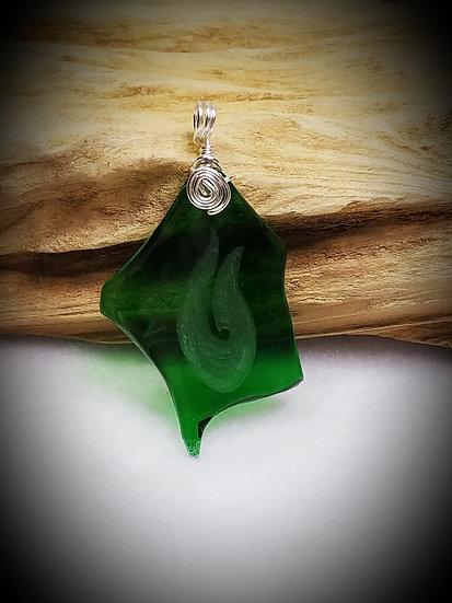Engraved Polynesian Hook Green Fired Glass Pendant 18