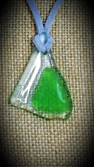 Green & Clear, 2 tone Fused Glass Necklace 03