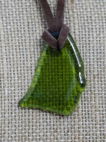 Medium Green Fired Glass Necklace 01