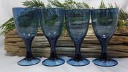 Blue Bubble Glass Wine Goblets