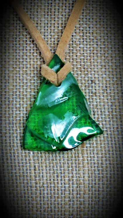 Green & Clear, 2 tone Fused Glass Necklace 06