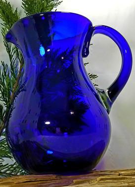 Handblown Cobalt Blue Pitcher