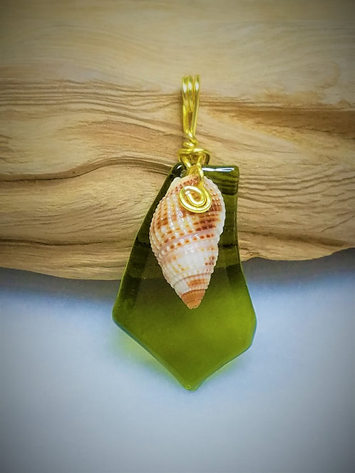 Green Fired Glass & Seashell Pendant 04