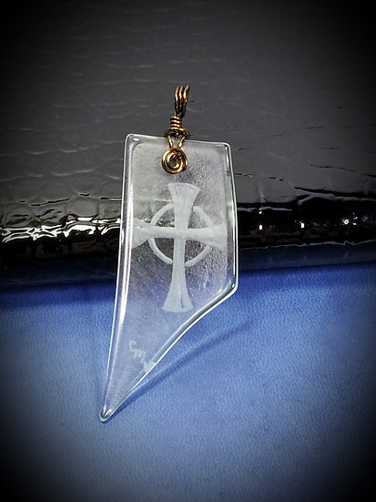 Celtic Cross Engraved Glass Pendant 02