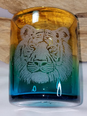 Tiger on handblown glass