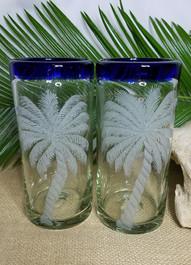 Leaning Palms on handblown glass