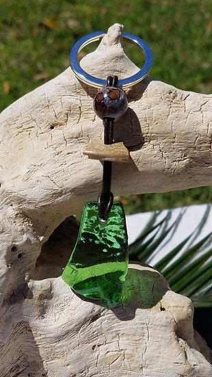 Fired Green Glass Key Ring 5