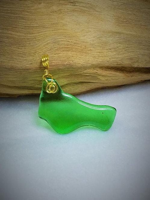 Green Fired Glass Pendant 01
