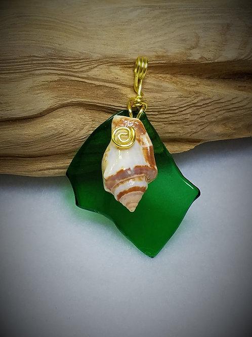 Green Fired Glass & Seashell Pendant 03