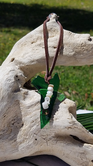Fired Green Glass and Shells Ornament