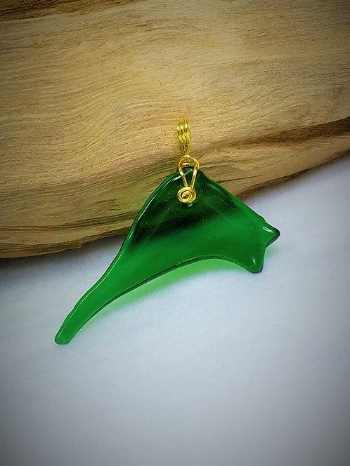 Green Fired Glass Pendant 04