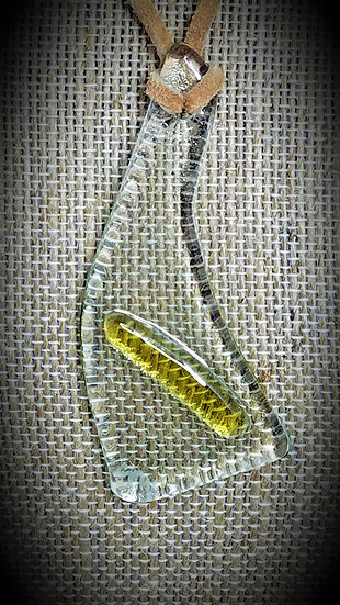Amber & Clear, 2 tone Fused Glass Necklace 04