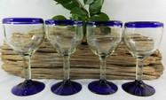 Blue Rim Wine Goblets