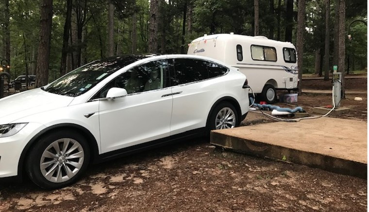 On a recent road trip, Mike Zuteck of Houston traveled 4,845 miles in his Tesla X while towing a 16' Casita camper for the majority of those miles.
