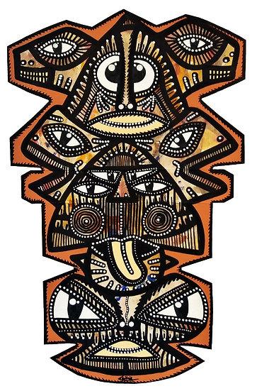 Batticaloa - Acrylique sur carton d'emballage - 2020 - 47 x 28 cm