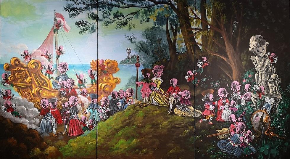 D'après Watteau, embarquement pour l'île Moya - Acrylique sur toile - 200x450 cm