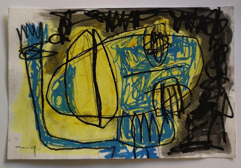 Sans titre - Gouache, crayon et fusain sur papier - 16 x 24 cm