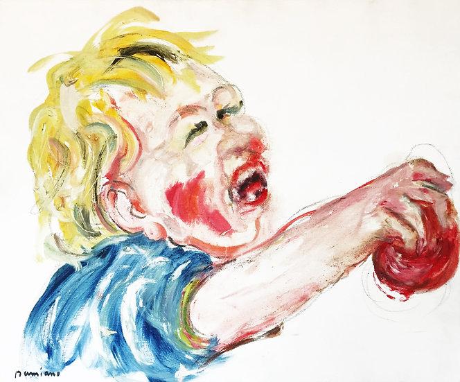Enfant à la balle - Huile sur toile - 54 x 65 cm