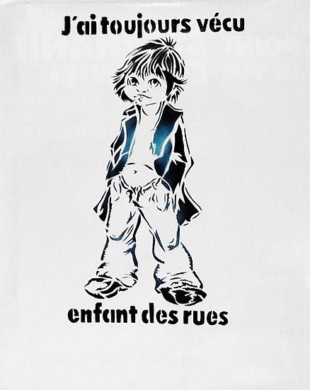 Enfant des rues - Bombe aérosol sur papier d'affiche - 78 x 60 cm - Non signé