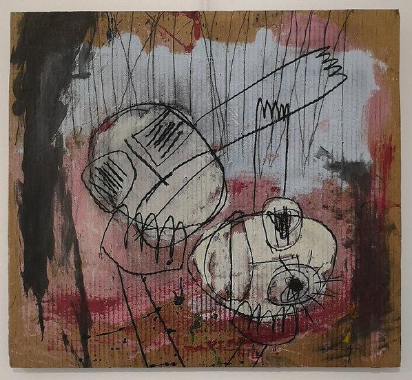 Sans titre - Gouache, acrylique et fusain sur carton - 60,5 x 66,5 cm