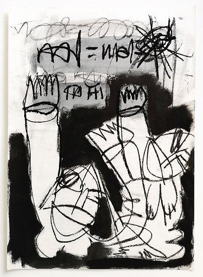 Sans titre - Gouache, acrylique et fusain sur papier - 42 x 30 cm