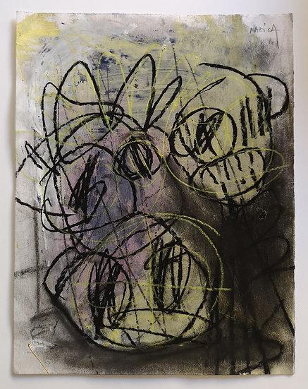 Sans titre - Gouache et fusain sur papier - 32,5 x 25 cm