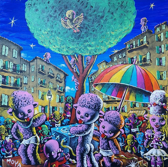 Dolly party à la Place du Pin - Acrylique sur toile - 80 x 80 cm