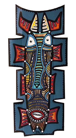 Grand masque - Acrylique sur carton d'emballage - 2020 - 48 x 22 cm