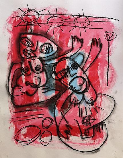 Sans titre - Gouache et fusain sur papier - 65 x 50 cm